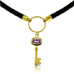 Genuine 0.50 ctw Amethyst Necklace Jewelry 14KT Yellow Gold - REF-65Y8F