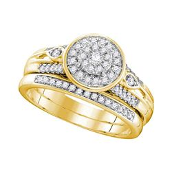 0.38 CTW Diamond Halo Bridal Engagement Ring 10KT Yellow Gold - REF-52F4N