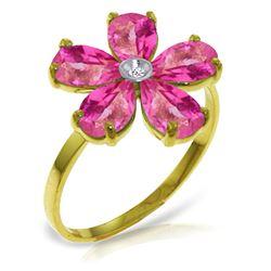 Genuine 2.22 ctw Pink Topaz & Diamond Ring Jewelry 14KT Yellow Gold - REF-36Z3N