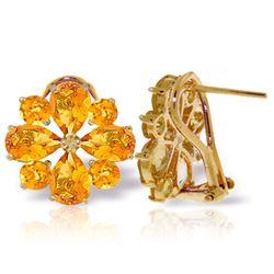Genuine 4.85 ctw Citrine Earrings Jewelry 14KT Yellow Gold - REF-58W4Y