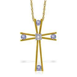 Genuine 0.53 ctw Tanzanite & Diamond Necklace Jewelry 14KT Yellow Gold - REF-80F2Z