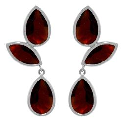 Genuine 13 ctw Garnet Earrings Jewelry 14KT White Gold - REF-62P4H