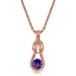 Genuine 0.65 ctw Amethyst Necklace Jewelry 14KT Rose Gold - REF-73Z7N