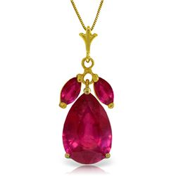 Genuine 5.5 ctw Ruby Necklace Jewelry 14KT Yellow Gold - REF-54Y6F