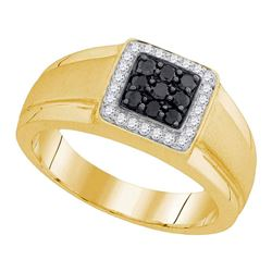 0.40 CTW Mens Black Color Diamond Square Cluster Ring 10KT Yellow Gold - REF-41M9H