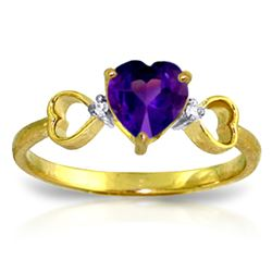 Genuine 0.96 ctw Amethyst & Diamond Ring Jewelry 14KT Yellow Gold - REF-41R4P