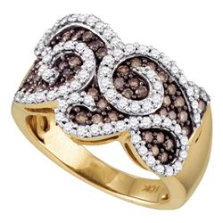 1 CTW Cognac-brown Color Diamond Swirled Cocktail Ring 10KT Yellow Gold - REF-82W4K