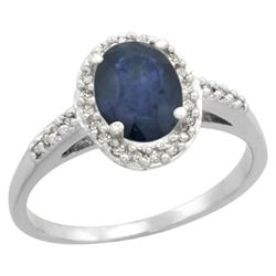 Natural 1.57 ctw Blue-sapphire & Diamond Engagement Ring 14K White Gold - REF-38R4Z