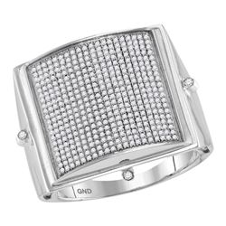 0.85 CTW Mens Pave-set Diamond Square Dome Cluster Ring 10KT White Gold - REF-97N4F