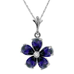 Genuine 2.22 ctw Sapphire & Diamond Necklace Jewelry 14KT White Gold - REF-36F3Z