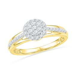 0.33 CTW Diamond Flower Cluster Ring 10KT Yellow Gold - REF-32Y9X