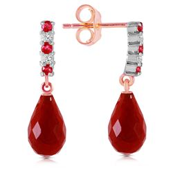 Genuine 6.9 ctw Ruby & Diamond Earrings Jewelry 14KT Rose Gold - REF-35W2Y