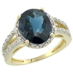 Natural 3.47 ctw London-blue-topaz & Diamond Engagement Ring 10K Yellow Gold - REF-35F9N