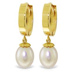 Genuine 8 ctw Pearl Earrings Jewelry 14KT Yellow Gold - REF-42N2R