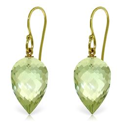 Genuine 19 ctw Green Amethyst Earrings Jewelry 14KT Yellow Gold - REF-28F4Z