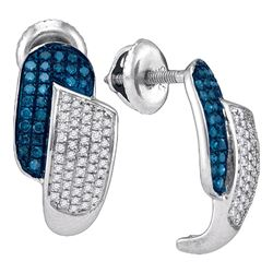 0.50 CTW Blue Color Diamond J Half Hoop Earrings 10KT White Gold - REF-34X4Y