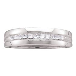 0.50 CTW Mens Princess Channel-set Diamond Single Row Ring 14KT White Gold - REF-67F4N