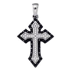 0.20 CTW Black Color Diamond Cross Crucifix Pendant 10KT White Gold - REF-20N9F
