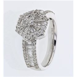 1.15 CTW Diamond & Diamond Ring 18K White Gold - REF-145K6W