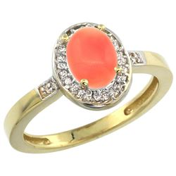 Natural 0.83 ctw Coral & Diamond Engagement Ring 14K Yellow Gold - REF-30A8V