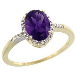 Natural 1.2 ctw Amethyst & Diamond Engagement Ring 14K Yellow Gold - REF-23M2H