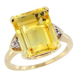 Natural 5.44 ctw citrine & Diamond Engagement Ring 10K Yellow Gold - REF-32Z2Y