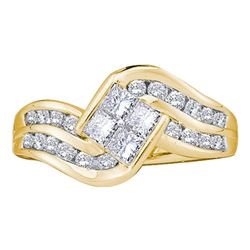 1 CTW Princess Diamond Cluster Ring 14KT Yellow Gold - REF-82K4W