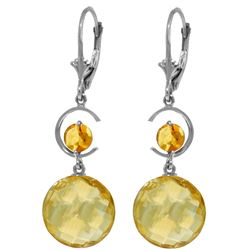Genuine 11.60 ctw Citrine Earrings Jewelry 14KT White Gold - REF-47X5M