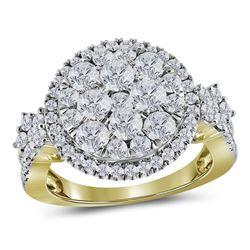 2 CTW Diamond Circle Cluster Fashion Ring 14KT Yellow Gold - REF-199N4F