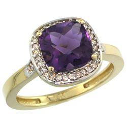 Natural 3.94 ctw Amethyst & Diamond Engagement Ring 10K Yellow Gold - REF-29F2N