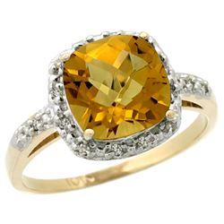Natural 3.92 ctw Whisky-quartz & Diamond Engagement Ring 14K Yellow Gold - REF-33Y6X