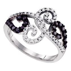 0.33 CTW Black Color Diamond Curl Ring 14KT White Gold - REF-38H9M