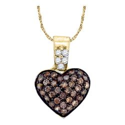 0.38 CTW Cognac-brown Color Cluster Diamond Heart Pendant 10KT Yellow Gold - REF-18X2Y