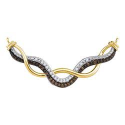 0.31 CTW Cognac-brown Color Diamond Infinity Pendant 10KT Yellow Gold - REF-52H4M