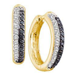0.65 CTW Black Color Diamond Hoop Earrings 14KT Yellow Gold - REF-64K4W