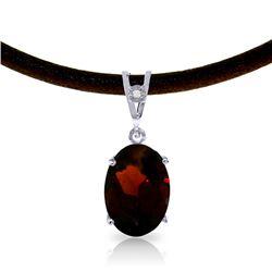Genuine 7.56 ctw Garnet & Diamond Necklace Jewelry 14KT White Gold - REF-53P8H