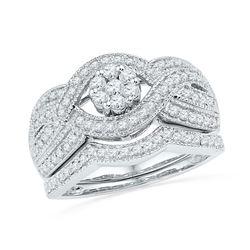 0.75 CTW Diamond Cluster Bridal Wedding Engagement Ring 10KT White Gold - REF-71F9N