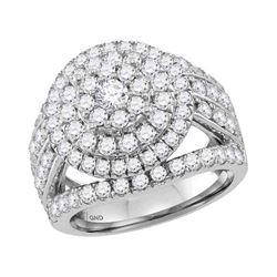 3.03 CTW Diamond Flower Cluster Bridal Engagement Ring 14KT White Gold - REF-277H4M