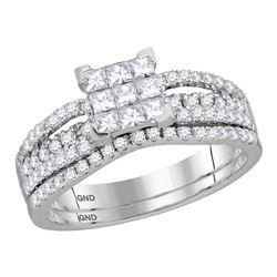 1.01 CTW Princess Diamond Cluster Bridal Engagement Ring 14KT White Gold - REF-89N9F
