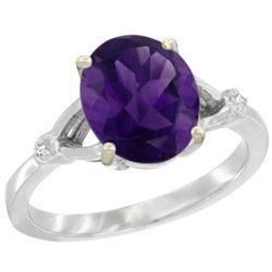 Natural 2.41 ctw Amethyst & Diamond Engagement Ring 14K White Gold - REF-33A8V