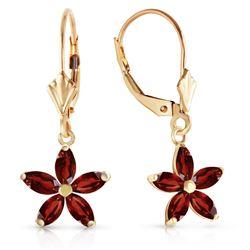 Genuine 2.8 ctw Garnet Earrings Jewelry 14KT White Gold - REF-46M7T