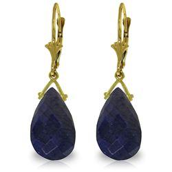 Genuine 15.6 ctw Sapphire Earrings Jewelry 14KT Yellow Gold - REF-96Z2N