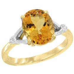 Natural 2.41 ctw Citrine & Diamond Engagement Ring 14K Yellow Gold - REF-33Y8X