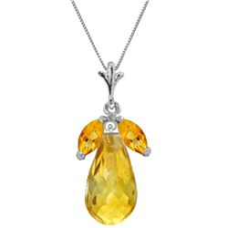 Genuine 7.2 ctw Citrine Necklace Jewelry 14KT White Gold - REF-30A5K