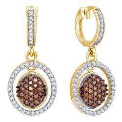 0.75 CTW Cognac-brown Color Diamond Oval Dangle Earrings 10KT Yellow Gold - REF-41Y9X
