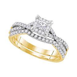 0.62 CTW Diamond Square Halo Bridal Engagement Ring 10KT Yellow Gold - REF-75K2W