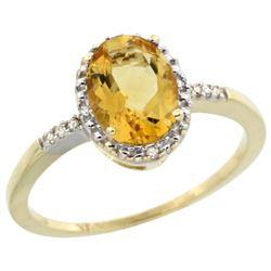 Natural 1.2 ctw Citrine & Diamond Engagement Ring 14K Yellow Gold - REF-23M2H