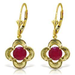 Genuine 1.10 ctw Ruby Earrings Jewelry 14KT Yellow Gold - REF-41N4R