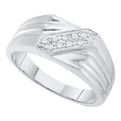 0.10 CTW Mens Diamond Ring 10KT White Gold - REF-19M4H