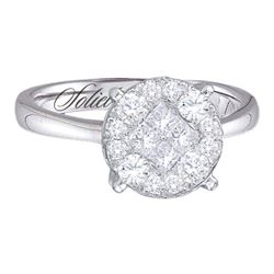 1.51 CTW Princess Diamond Soleil Cluster Bridal Engagement Ring 14KT White Gold - REF-179H9M